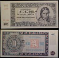 Specimen Czechoslovakia 1000 Korun 1945 P-74s 3 DOTS UNC