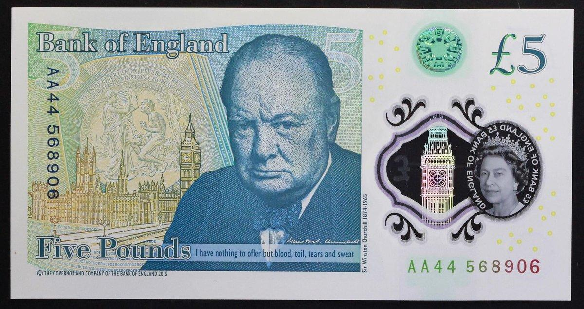 2016 £5 POLYMER BANK OF ENGLAND NOTE GREAT BRITAIN UK POUND PREFIX AA SERIES UNC