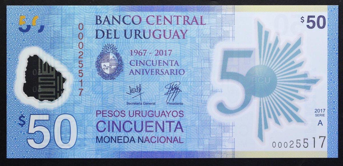 X 2 UNC URUGUAY  POLYMER 50 PESOS COMMEMORATIVE BANKNOTE 2018 2017