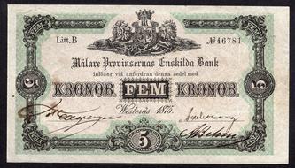 AU-UNC P-33 1943-1952 Sweden 5 Kronor banknote