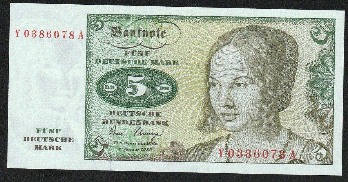 GERMANY 20 MARK 1980 P 32 UNC