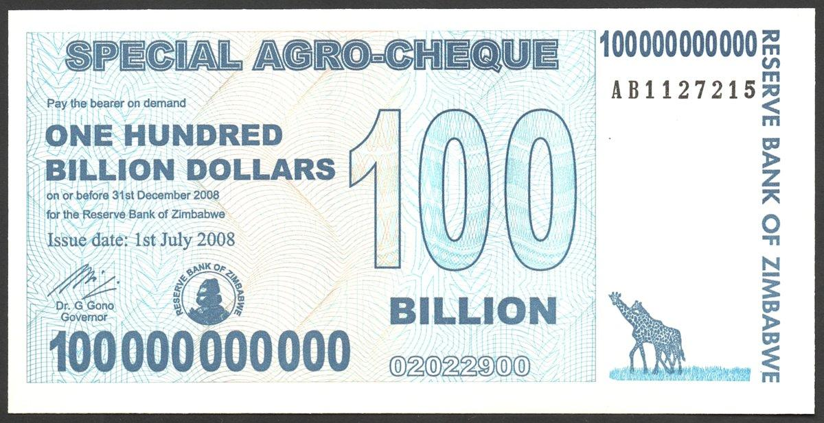 UNC ZIMBABWE 100 Billion Dollars Special Agro-Cheque P-64 2008