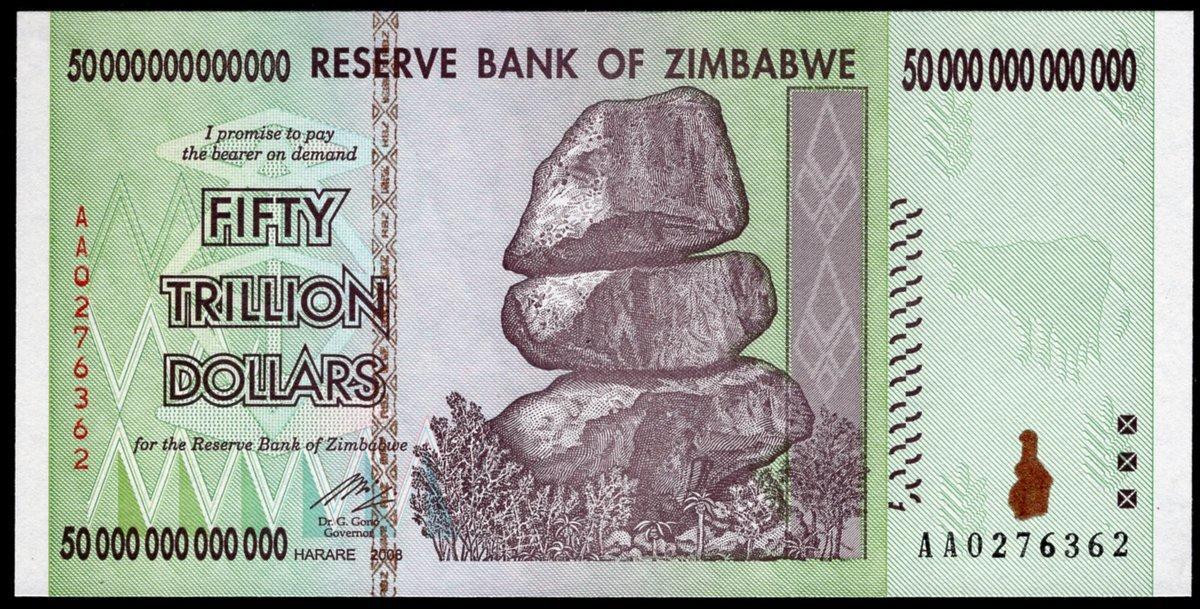ONE Zimbabwe 100 Trillion Dollar Note AA 2008 series UNCIRCULATED