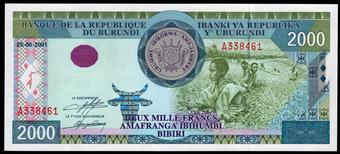 BURUNDI 100 FRANC 1997 P 37 UNC RARE DATE