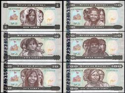 Lot 10 PCS Original Eritrea 10 Nakfa P-3 Banknotes UNC 1997