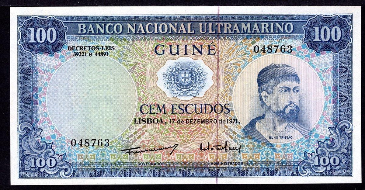 UNC 2 Pcs SET Portuguese Guinea 50-100 Escudos 1971 P-44a P-45a