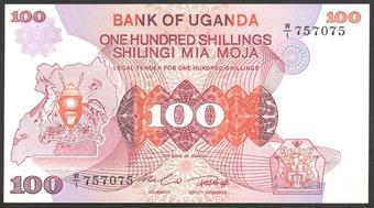 UGANDA 100 Shillings 1982 P-19b UNC Uncirculated