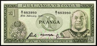 1987 P.19c UNC Tonga 1 Paanga