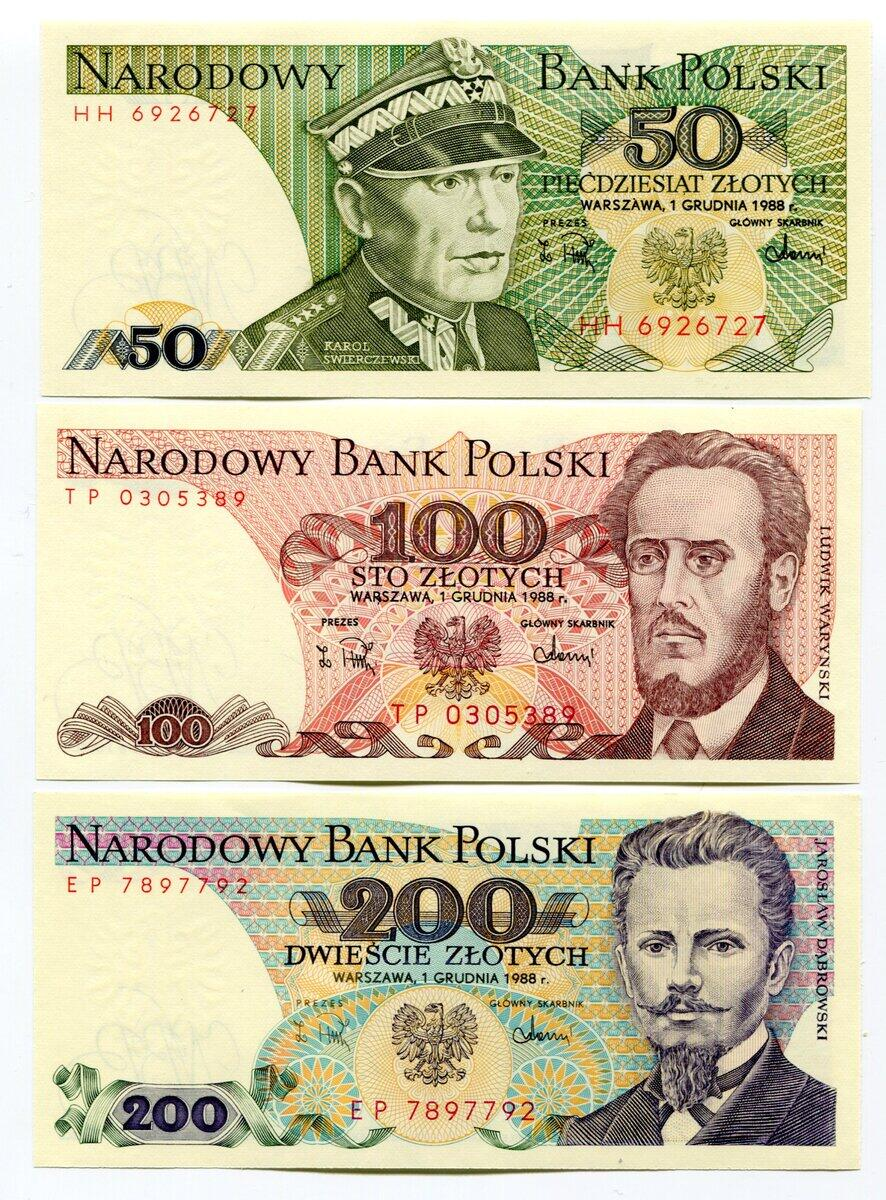 Lot Of 3 Poland Banknotes Old Rare Collectible Paper Money Zlotych 1982-1988