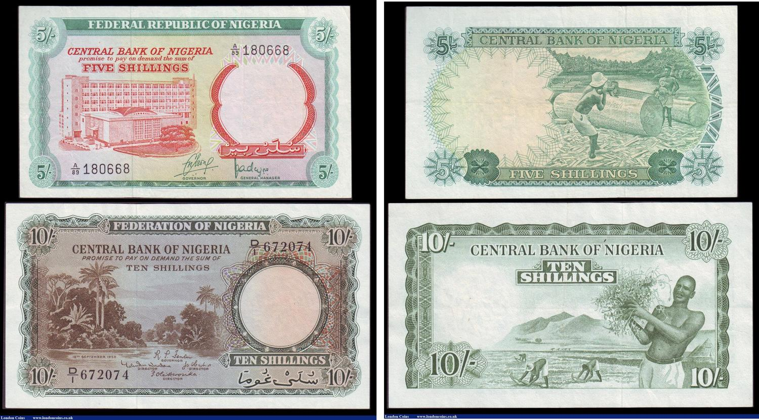 Numisbids London Coins Ltd Auction 152 5 6 March 2016 World Cash Pb 20000 Nigeria 2 10 Shillings Dated 15th September 1958 Series D 1 672074 Pick3a Vf To Gvf Issued 1968