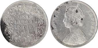 BOMBAY Silver Coin Victoria Empress S-719 British India 1883 One Rupee