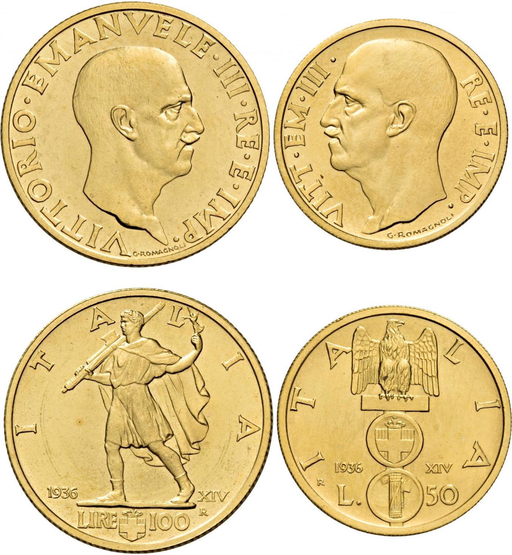 150f9020d9 Monete di zecche italiane Savoia Vittorio Emanuele III, 1900-1946. Da 100 e 50  lire 1936/XIV. Pagani 650 e 661. MIR.