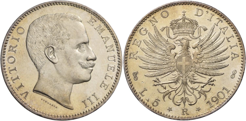 968d23d33d Monete di zecche italiane Savoia Vittorio Emanuele III, 1900-1946. Da 5 lire  1901. Pagani 706. MIR.