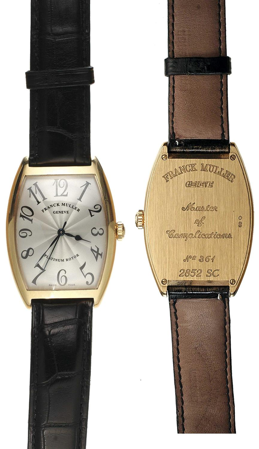 Numisbids Noble Numismatics Pty Ltd Auction 114 28 31 March 2017 Natural 100 Top Imperial Topaz 1427 Gents Wristwatch C1998 Franck Muller Cintree Curvex Casablanca Model 2852 Sc No 361 Automatic In 18ct Rose Gold