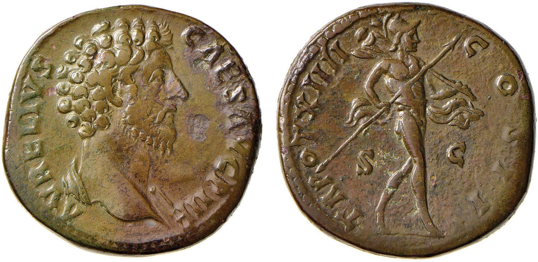 4fccfda9fe NumisBids: Nomisma Spa Auction 52, Lot 95 : Marco Aurelio (160-180)  Sesterzio - Testa a d. – R/ TR POT XIIII.