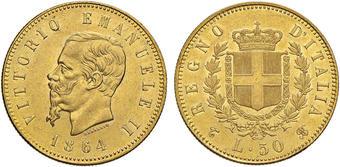 1229a1a67b Vittorio Emanuele II (1861-1878) 50 Lire 1864 T – Pag. 454; Mont. 129 AU  RRRR Tiratura di 103 esemplari. Moneta di.