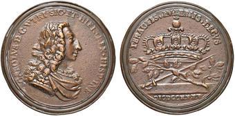54dec1524d PALERMO Carlo di Borbone (1734-1759) Medaglia 1735 per l'incoronazione -  D'Auria 2 - Æ (g 30,01 - Ø 47 mm) Fusione.