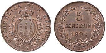 213ff55ea2 SAN MARINO 5 Centesimi 1894 - CU (g 5,03) Rame rosso FDC