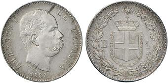 58d99691bf Umberto I (1878-1900) Lira 1887 - Nomisma 1007 AG Minimi segnetti da  contatto sui bei fondi lucenti FDC
