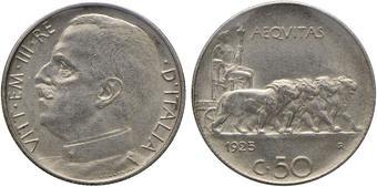 4c93fdbd4c Vittorio Emanuele III (1900-1946) 50 Centesimi 1925 R - Nomisma 1242; Pag.  807 NI Sigillato FDC da Lucio Esposito.