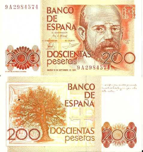 Spain 200 Pesetas p-156 1980 UNC Banknote