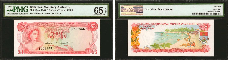 Brilliant Bahamas 1 Dollar 1968 Pick 27a Amerika 3 Papiergeld Welt