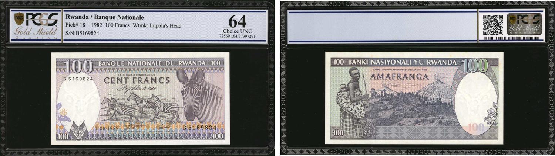 Rwanda P-19a UNC /> Zebra 100 Francs 1989