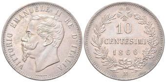 5e8ec1d5ad 10 Centesimi 1866 Milano. Cu Dr. Testa del sovrano rivolta a s. Rv..