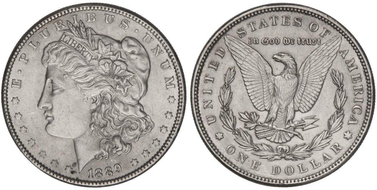 Numisbids Soler Y Llach S A Auction 1103 Mail Bid Lot 3481 1 Dólar 1889 26 74 Grs Ar Tipo Morgan Km 110 Ebc