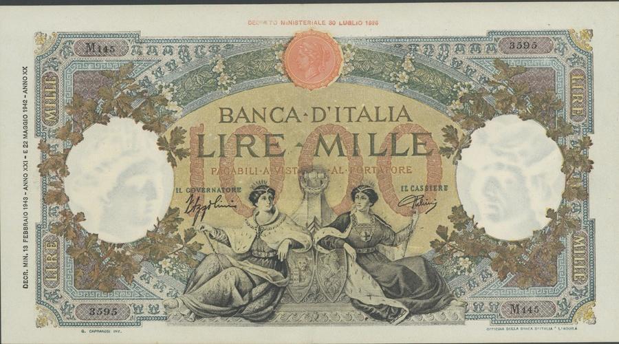 Numisbids Spink Auction 18032 Lot 1956 Banca Ditalia 1000 Lire