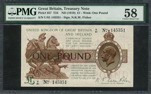 Pick 12 S Selten 1945 Äthiopien Probe 1 Dollar Nd