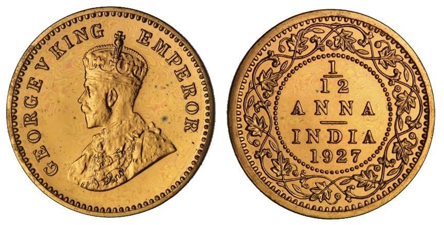 British India George V 1910 1936 Bronze Restrike Proof 1 12 Anna 1927 C Crowned Bust Left Sw 8 567 Km 509