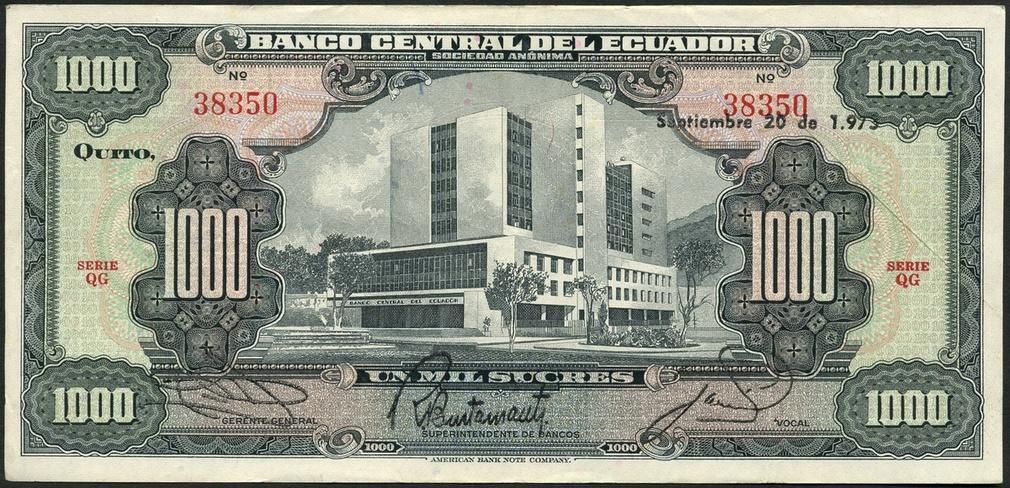 El Banco Central Del Ecuador 1000 Sucres 1972 2 1973 Black On Pink And Green Bank Building At