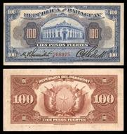 100 Pesos Law Of 1923 Red Serial Number 208975 Blue Building At Centre Reverse Purple Arms And Value
