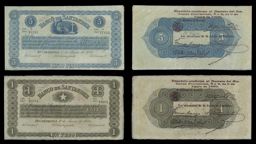 Banco De Santander Pair 1 And 5 Pesos Decreto 1900 P S831c 832c Star Woman With Child Overprint On