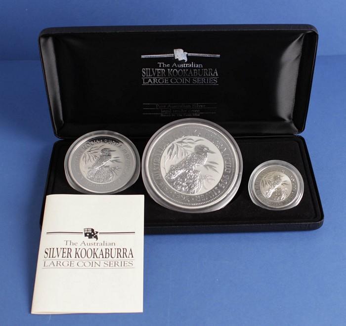 2003 /& 2004 SILVER Kookaburra 3 COINS 1oz edition in Perth Mint Box 2002