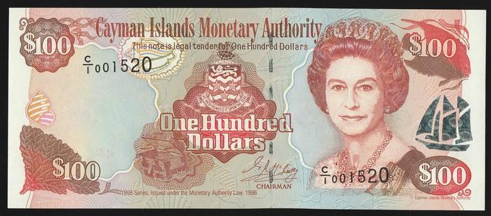 UNC Cayman Islands Banknote P25  100 Dollars 1998 QE II