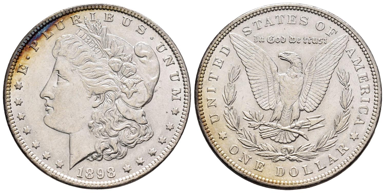 Numisbids Tauler Fau Subastas Auction 2 Lot 1026 Estados Unidos 1 Dólar 1898 Filadelfia Km 110 Ag Pequeñas