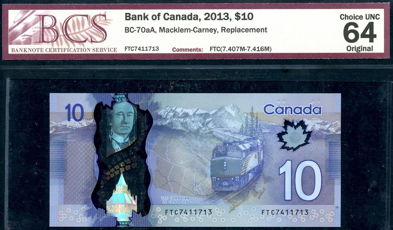 *Double Star Error*Gem UNC Canada $5 Jenkins//Carney paper money Bank Notes