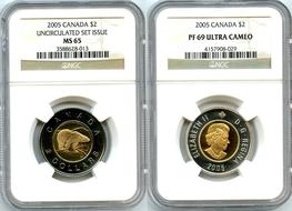 Heavy Cameo GEM from Mint Set Loonie Dollar 1990 $1 Canada Proof Loon