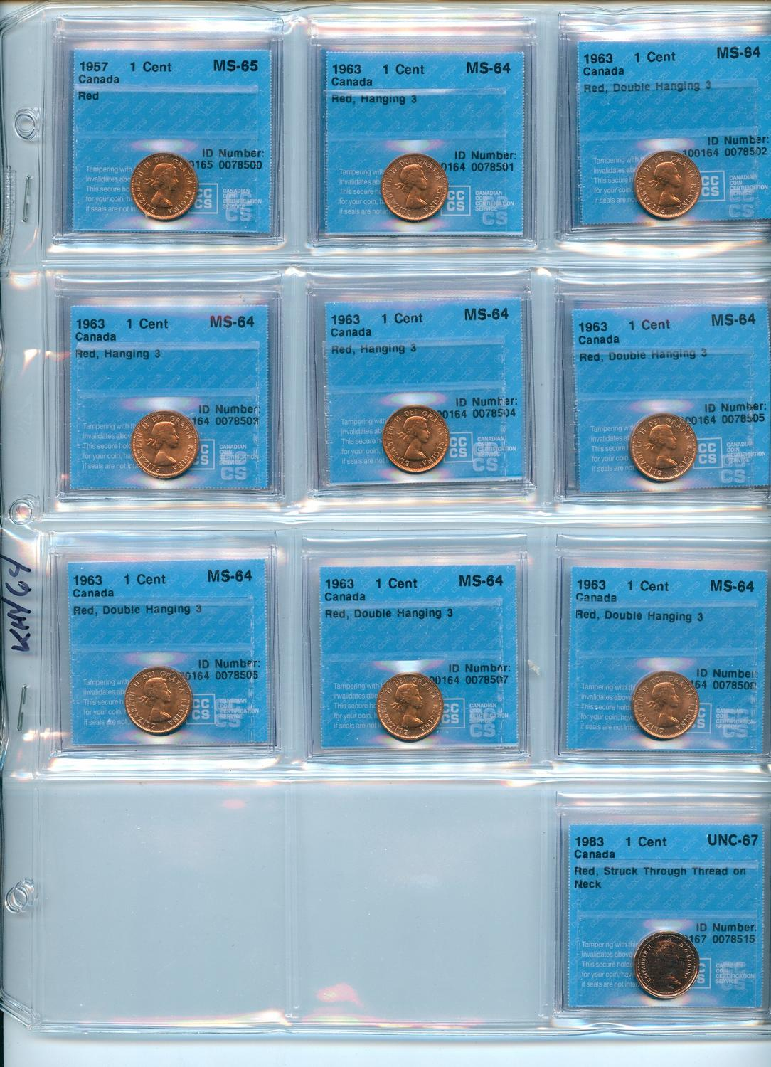 Lot of 88 Canadian 1963 AU//UNC Red Small Penny.