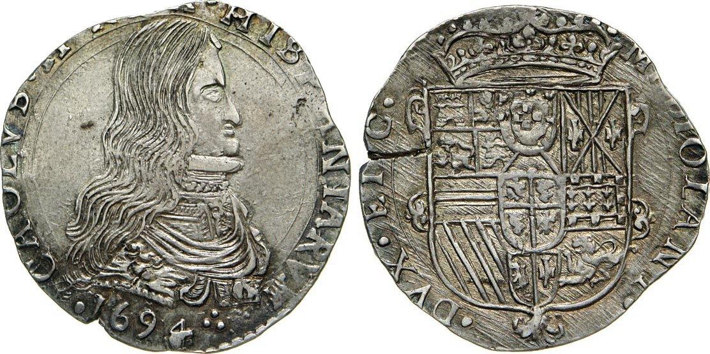 931191a82f MILANO - CARLO II DI SPAGNA (1676-1700) Mezzo Filippo 1694. D/ Busto  corazzato R/ Stemma coronato. CNI 102/107 .