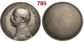 Vittorio Emanuele III   Medaglia Premio, Opus SIAM, Br Argentato, 59mm,  80g, SPL+