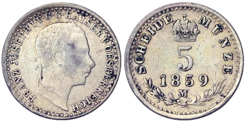 Afbeeldingsresultaat voor 5 Kreuzer 1859