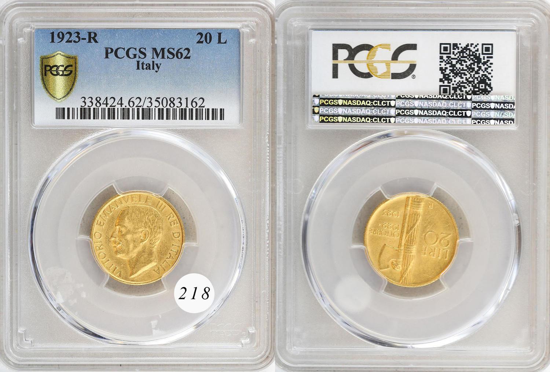 Italy 1863 T BN 10 Lire Gold PCGS AU55